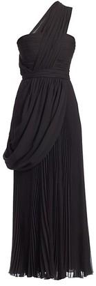 Giambattista Valli Silk Georgette One-Shoulder Draped Dress