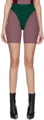 Paolina Russo SSENSE Exclusive Green and Pink Check Illusion Knit Cycling Shorts