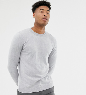Asos DESIGN Tall Crew Neck Cotton Sweater In Gray