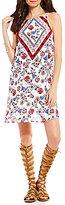 Sequin Hearts Spaghetti Strap Scarf-Print/Floral Shift Dress