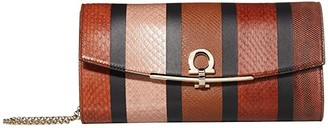 Salvatore Ferragamo Gancio Clip Patchwork Wallet on Chain (Dark Vicuna/Cumin/Caramel Spuntato) Wallet Handbags