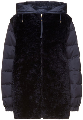 Mr & Mrs Italy Reversible Paneled Quilted Shell And Shearling Hooded Down Jacket