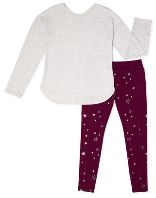 Athletic Works Girls 4-18 & Plus Core Long Sleeve T-Shirt and Legging, 2-Piece Active Set
