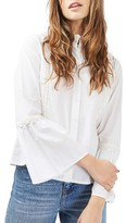 Topshop Women's Cotton Poplin Ruffle Blouse