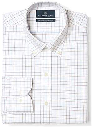Buttoned Down Classic Fit Button Collar Pattern Dress Shirt, (White/Brown Check)
