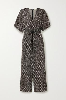 Vanessa Bruno Lelie Belted Printed Cloque Jumpsuit - Black