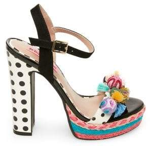 57ce0f6edd36 Betsey Johnson Polka Tassel Platform Sandals