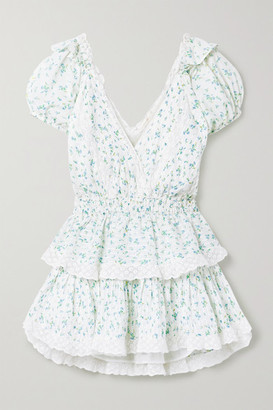 LoveShackFancy Carlo Crochet-trimmed Tiered Floral-print Cotton-voile Mini Dress - Ivory