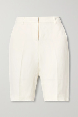 Nili Lotan Montreal Linen And Silk-blend Shorts - Ivory