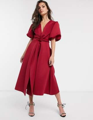 Asos Design DESIGN bubble sleeve twist detail midi prom dress