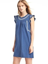 Gap Embroidered slub jersey swing dress