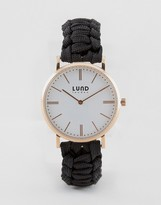 Lund London Black Braided Watch With Rose Gold Dial