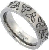 Sabrina Silver Titanium 6mm Wedding Band Triquetra Ring Celtic Trinity Flat Brushed Comfort Fit, size 8