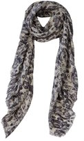 Ashley Ashoff Snow Leopard Cashmere Blend Scarf Black White