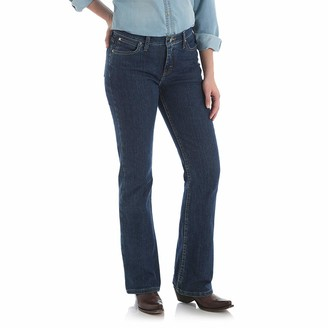 Wrangler Women's As Real As Classic Fit Bot Cut Red Casted Blue Indigo Jean
