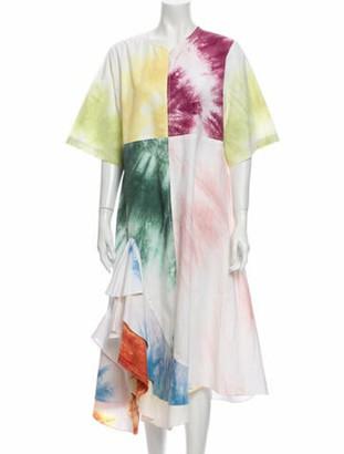Rosie Assoulin Tie-Dye Print Long Dress Yellow