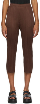 Pleats Please Issey Miyake Brown Basics Trousers