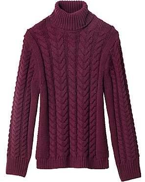 Tibi Women's Cable Knit Open Back Turtleneck Sweater