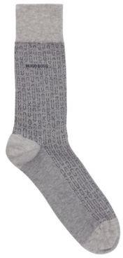 HUGO BOSS Regular Length Stretch Cotton Socks With Micro Pattern - Black
