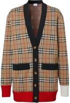 Burberry check wool blend cardigan