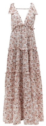 Adriana Degreas Aglio-print Tiered Silk Dress - White Print
