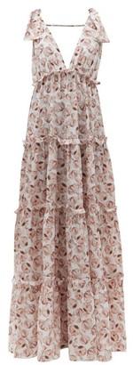 Adriana Degreas Aglio-print Tiered Silk Dress - Womens - White Print