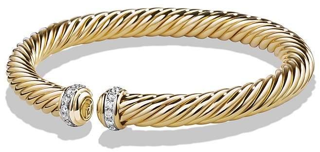 David Yurman Cable Spira Bracelet with Diamonds in 18K Gold