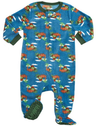 Leveret Blue Dinosaur Footed Fleece Sleeper