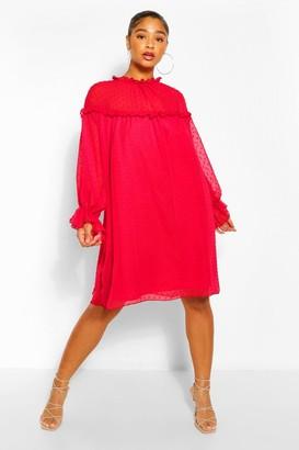 boohoo Plus Dobby Ruffle Smock Dress