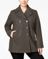 Kenneth Cole Plus Size Double-Breasted Peacoat, Created for Macy's