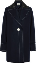 Edun Leather-trimmed wool-blend coat