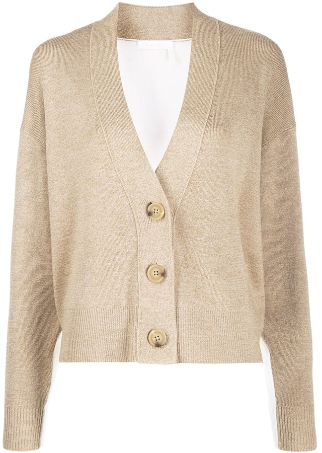 See by Chloe button up bi-colour cardigan