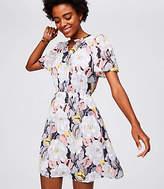 LOFT Floral Textured Henley Dress
