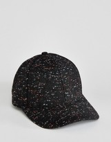 Asos Baseball Cap In Black Melton With Colored Nep