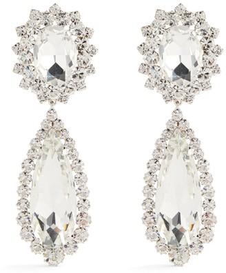 Alessandra Rich Faux Pearl Crystal Drop Clip-On Earrings