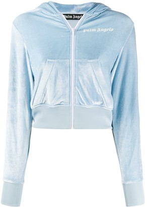 Palm Angels Cropped Velvet Zipped Jacket