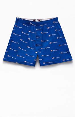 Champion Blue Script Knit Boxers