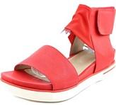 Eileen Fisher Spree-ws Women Open Toe Leather Red Wedge Sandal.