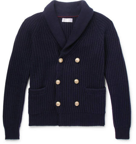 Brunello Cucinelli Shawl-Collar Double-Breasted Ribbed Cashmere Cardigan