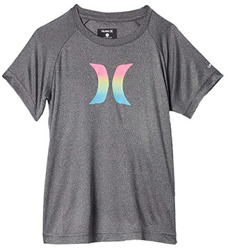 Hurley Ombre Icon UPF Shirt (Toddler/Little Kids) (Black Heather) Boy's Swimwear