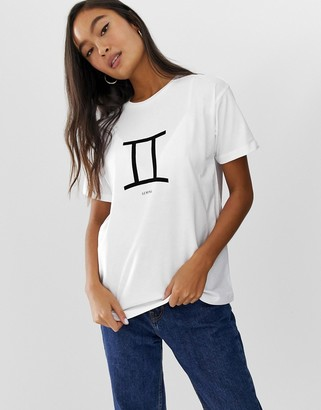 Asos DESIGN t-shirt with taurus gemini cancer leo starsign print