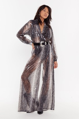Nasty Gal Womens Snake a Run for It Sheer Sequin Jumpsuit - Grey - 8
