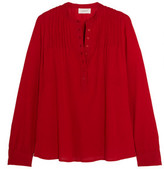 The Great Pintucked Crinkled Cotton-Gauze Blouse