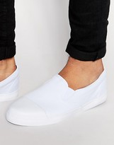 Asos Slip on Sneakers in White Canvas With Toe Cap