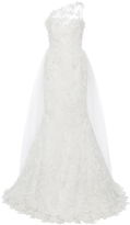 Romona Keveža M'O Exclusive One Shoulder Embroidered Lace Gown