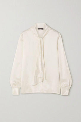 Tom Ford Pussy-bow Washed-satin Blouse - White
