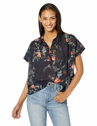 Michael Stars Women's Emma Kinsley Floral Short Sleeve Button top