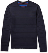 Issey Miyake Men - Striped Double-faced Wool-blend Sweater
