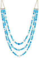 Kate Spade Gold-Tone Three-Strand Blue Beaded Statement Necklace