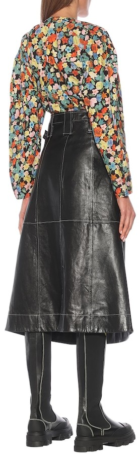 Thumbnail for your product : Ganni Leather midi skirt